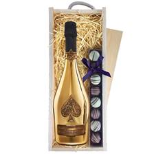 Buy & Send Armand de Brignac Gold Champagne & Truffles Wooden Box